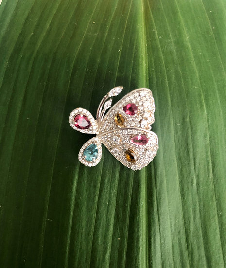 Coloured stones butterfly brooch