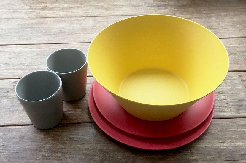 Bamboo Fibra Dining Set: Salad Bowl + 2 Plates + 2 Cups