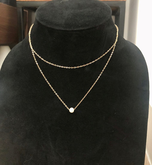 Akoya pearl double chained necklace