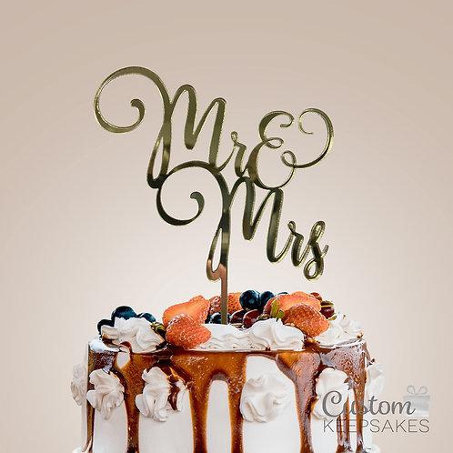 Mr & Mrs Mirror Cake Topper