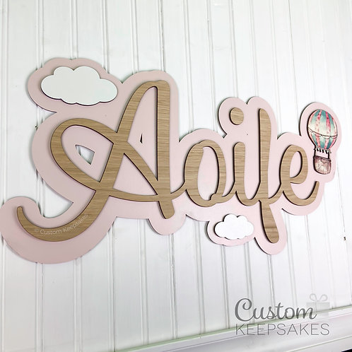 Hot Air Balloon Wall Name Sign