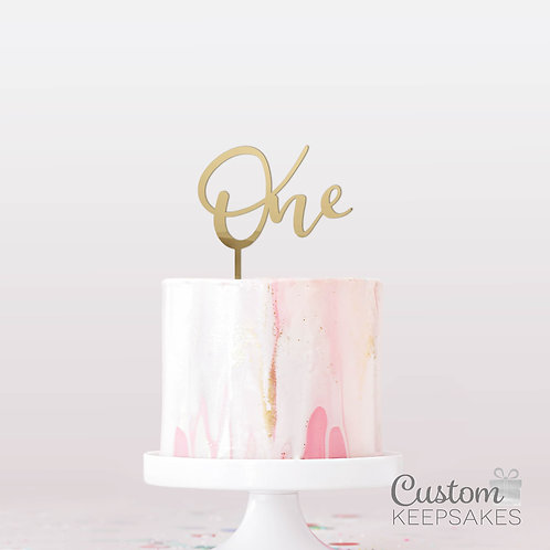 One Mirrored Cake Topper