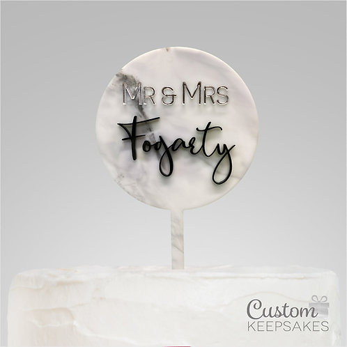 Marble Acrylic Mr & Mrs Cake Topper