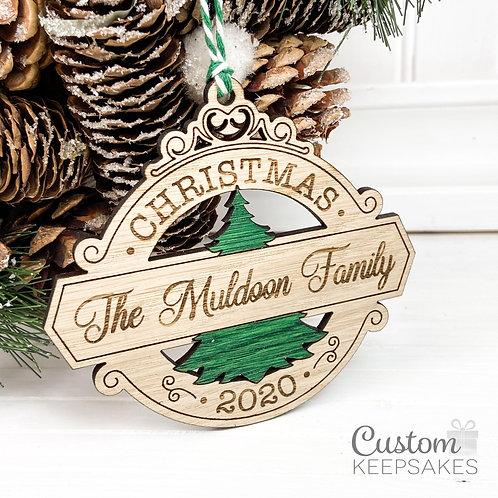 Ornate Family Name Oak Decoration