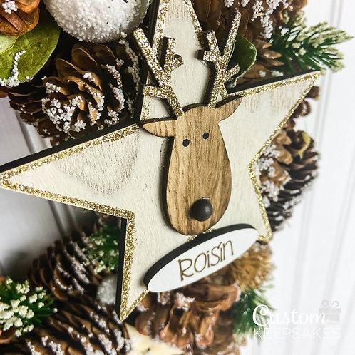 Glitter Star Reindeer Decoration