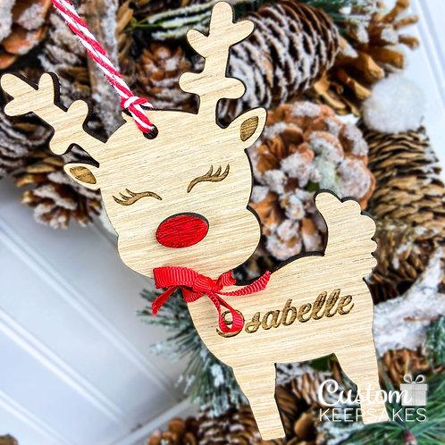 Personalised Oak Reindeer Decoration
