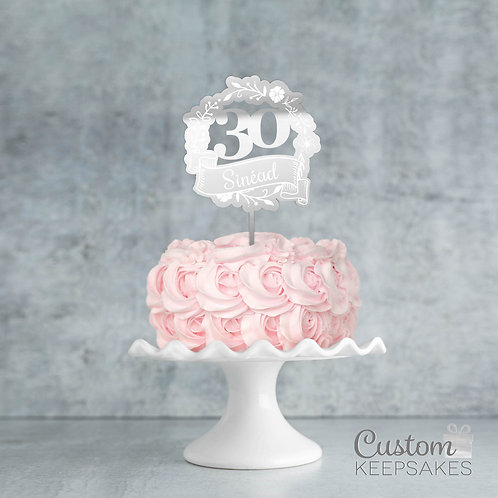 Personalised Floral Wreath Mirror Cake Topper