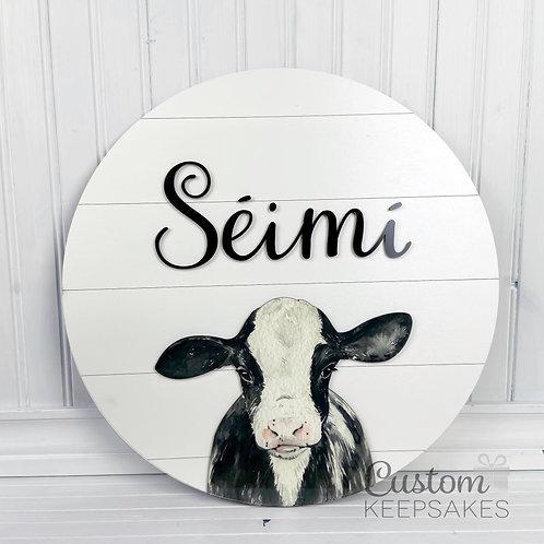Calf Farm Animal Name Sign - Large
