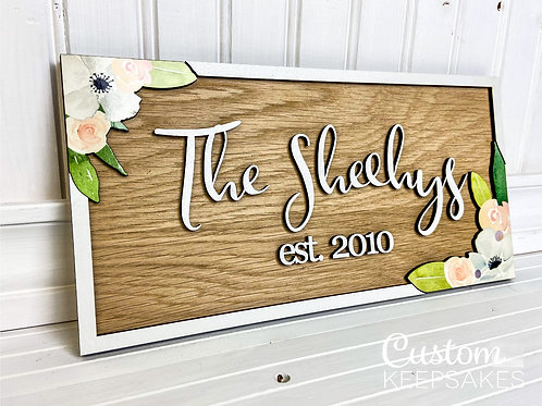 Floral Rectangle Family Name Sign