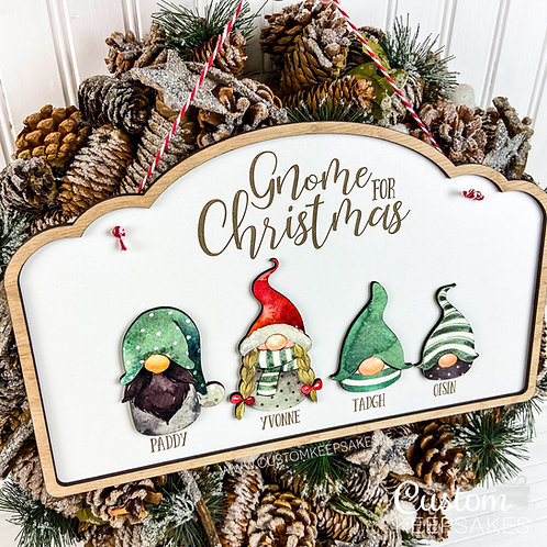 Gnome For Christmas Personalised Family Sign