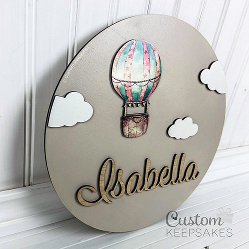 Hot Air Balloon Circular Name Sign
