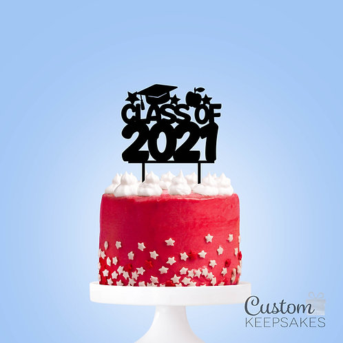 Class of 2021 Glitter Acrylic Cake Topper