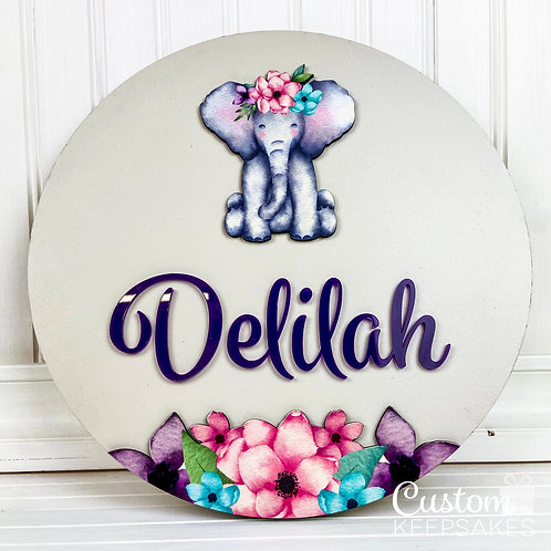 Floral Elephant Circular Name Sign