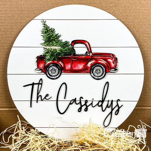Christmas Tree Truck Family Sign