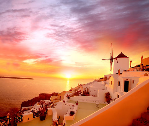 Santorini with famous windmill in Greece
