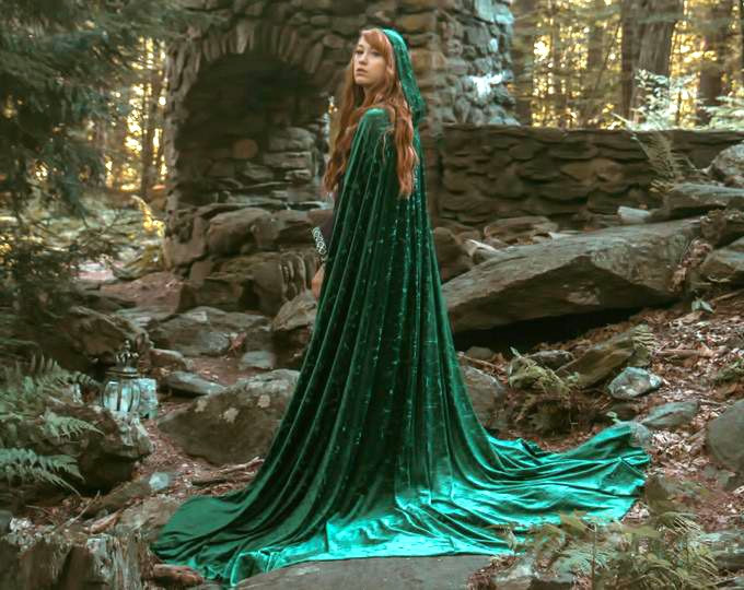 Red Headed Woman in Green Energy Cloak