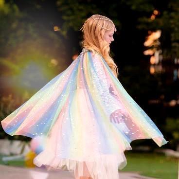 Little Girl in a Spiritual Sparkling Magical Cloak