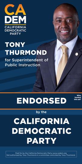 California Democratic Party Tony Thurmond Google Ad Endorsement