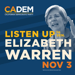 California Democratic Party Elizabeth Warren Lecture Digital Banner