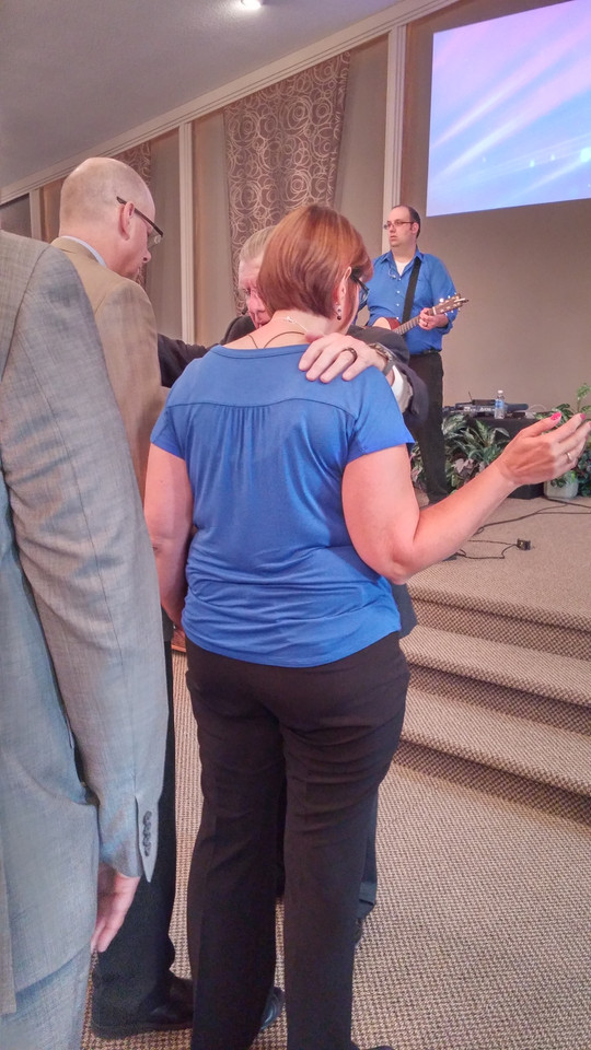 Dr. Mark T. Barclay praying for our Pastor & Miss Cheryl