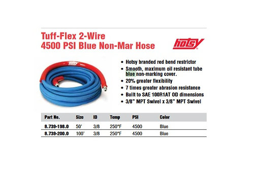 HOTSY Power Washer Hose, 2 Wire, 4500 PSI, 3/8, 50ft ot 100ft