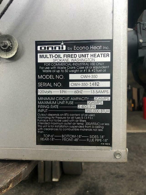 OMNI OWH-350 / Pre-Owned PreOwned Waste Oil Heater