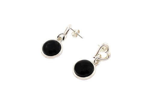 Brinco Prateado com Obsidiana Negra