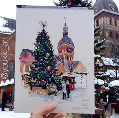 Youkki Art urban watercolor sketch Riga