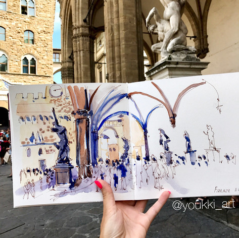 Youkki Art urban watercolor sketch Florence