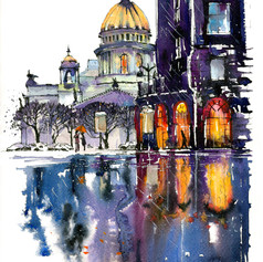 Youkki Art urban watercolor graphics St Isaac Cathedral