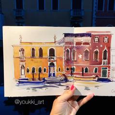 Youkki Art urban watercolor sketch Chiogga