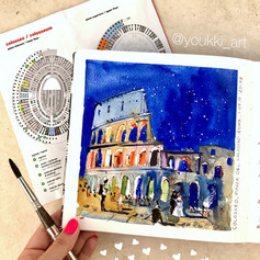 Youkki Art urban watercolor sketch Night Coloseum