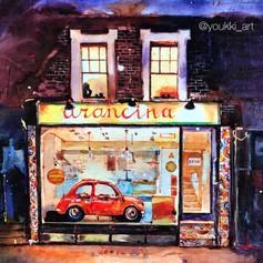 Youkki Art urban watercolor graphics London Pizzeria