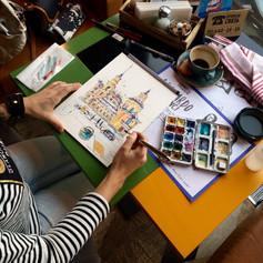 Youkki Art urban watercolor sketch Restaurant