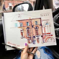 Youkki Art urban watercolor sketch