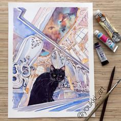 Youkki Art urban watercolor graphics Hermitage Cat