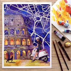 Youkki Art urban watercolor graphics Rome