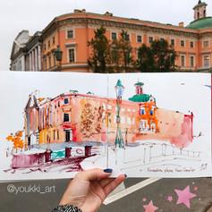 Youkki Art urban watercolor sketch Mihailovsky Castle