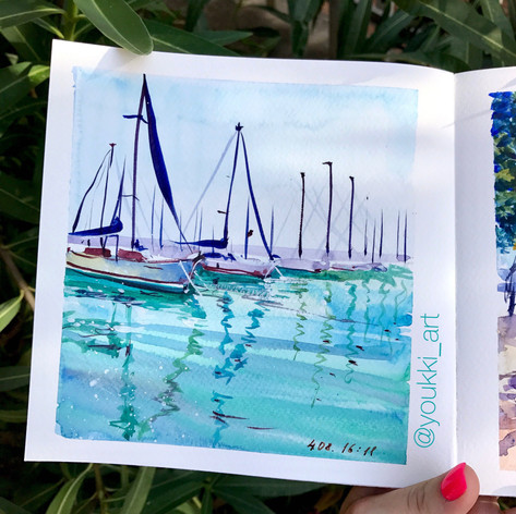 Youkki Art urban watercolor sketch Yacts