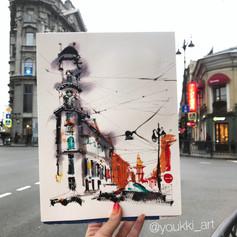 Youkki Art urban watercolor sketch Five Corners