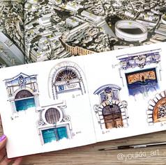 Youkki Art urban watercolor sketch Roman doors
