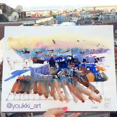Youkki Art urban watercolor sketch Istanbul