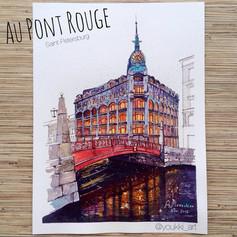 Youkki Art urban watercolor graphics Red Bridge