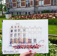 Youkki Art urban watercolor sketch Amsterdam