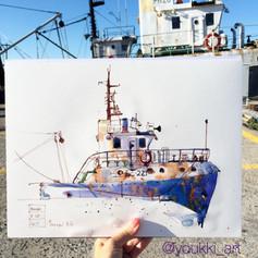 Youkki Art urban watercolor sketch old ship