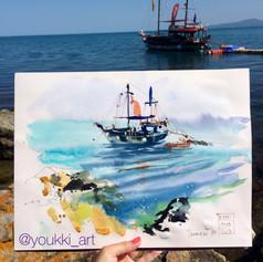Youkki Art urban watercolor sketch pirate ship