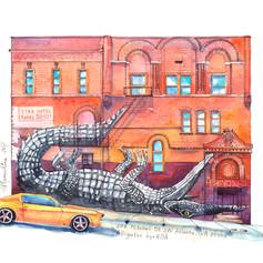 Youkki Art urban watercolor graphics Atlanta Street Art