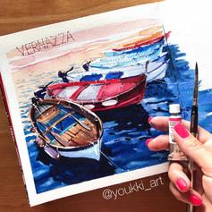 Youkki Art urban watercolor sketch boats