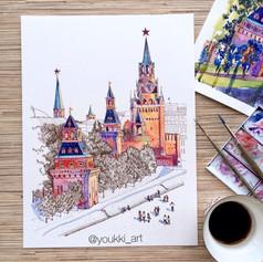 Youkki Art urban watercolor graphics Kremlin Moscow