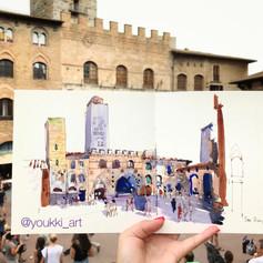 Youkki Art urban watercolor sketch San Gaminiano